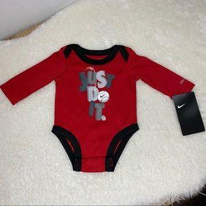 NEW Nike newborn Long sleeve onesie Red Baseball
